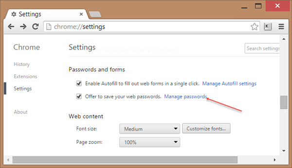 view passwords chrome