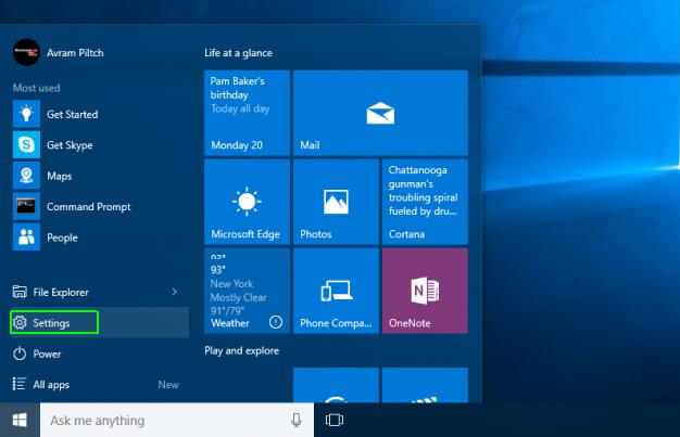 settings windows 10
